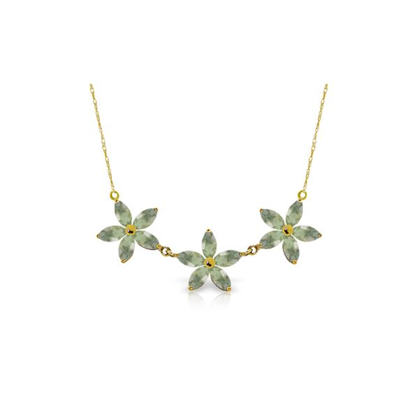 Genuine 4.2 ctw Green Amethyst Necklace 14KT Yellow Gold - REF-60N7R