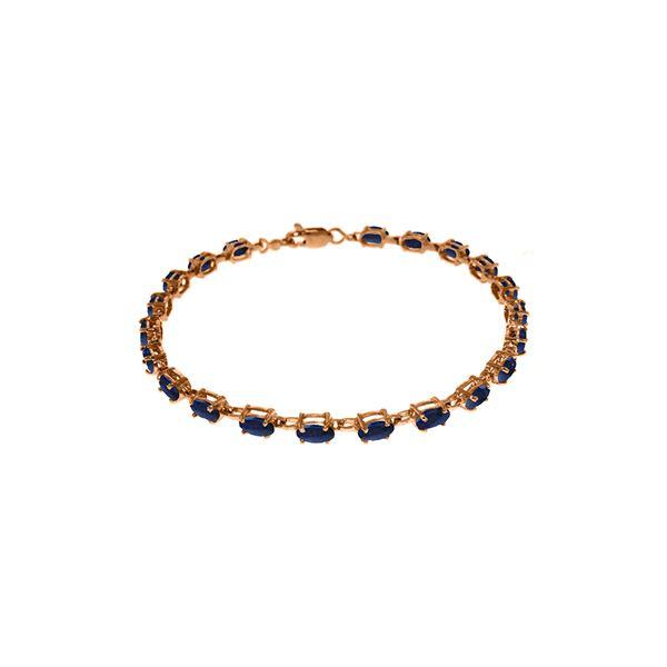 Genuine 8 ctw Sapphire Bracelet 14KT Rose Gold - REF-119M7T