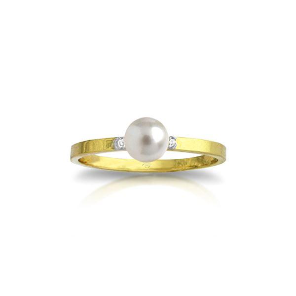 Genuine 1.02 ctw Pearl & Diamond Ring 14KT Yellow Gold - REF-26Z6N