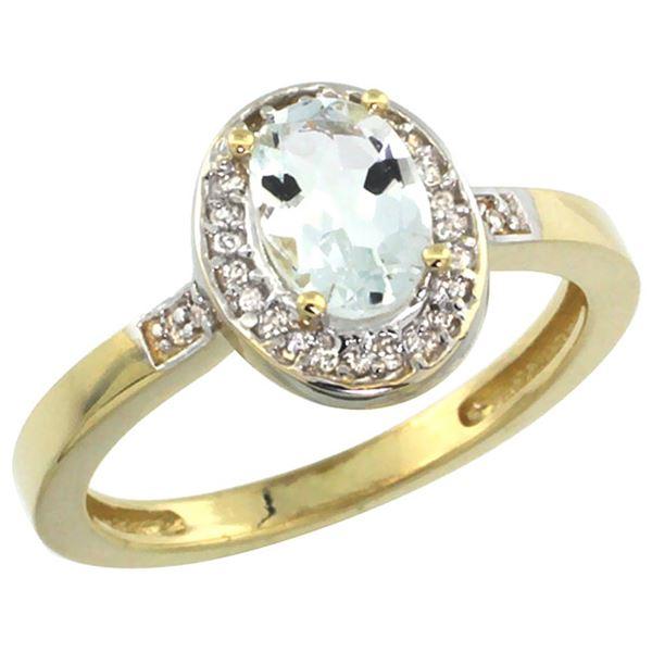 0.86 CTW Aquamarine & Diamond Ring 14K Yellow Gold - REF-39K9W