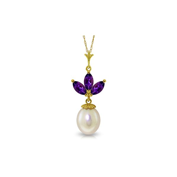 Genuine 4.75 ctw Amethyst & Pearl Necklace 14KT Yellow Gold - REF-24K3V