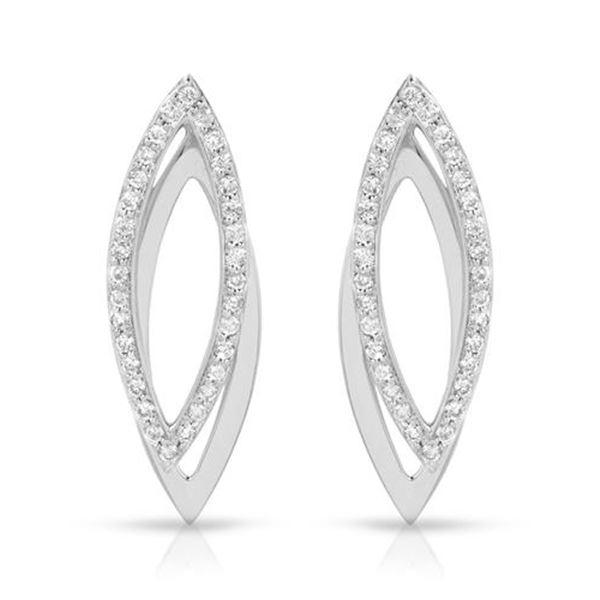Natural 0.67 CTW Diamond Earrings 18K White Gold - REF-95W4H