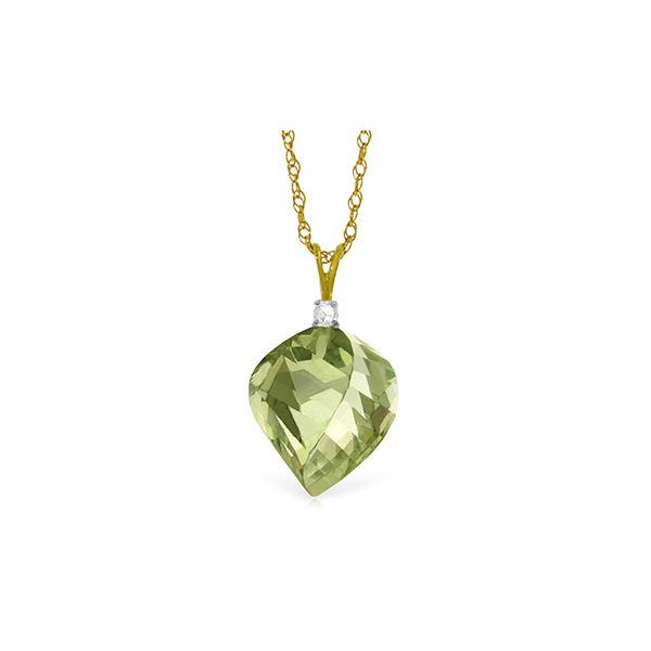 Genuine 13.05 ctw Green Amethyst & Diamond Necklace 14KT Yellow Gold - REF-31Y6F