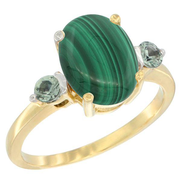 2.99 CTW Malachite & Green Sapphire Ring 10K Yellow Gold - REF-22X4M