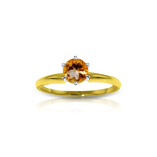 Genuine 0.65 ctw Citrine Ring 14KT Yellow Gold - REF-26V9W