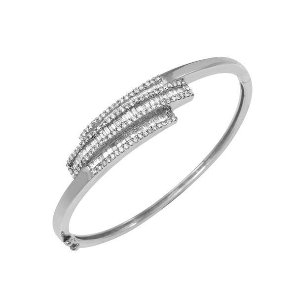 Natural 2.30 CTW Diamond & Baguette Bangle 14K White Gold - REF-279K9R