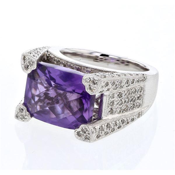 Natural 9.21 CTW Amethyst & Diamond Ring 18K White Gold - REF-220F5M