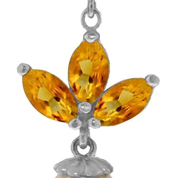 Genuine 4.75 ctw Citrine & Pearl Necklace 14KT White Gold - REF-24A3K