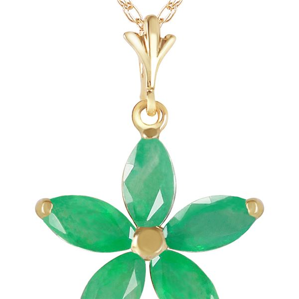 Genuine 1.40 ctw Emerald Necklace 14KT Yellow Gold - REF-30N7R