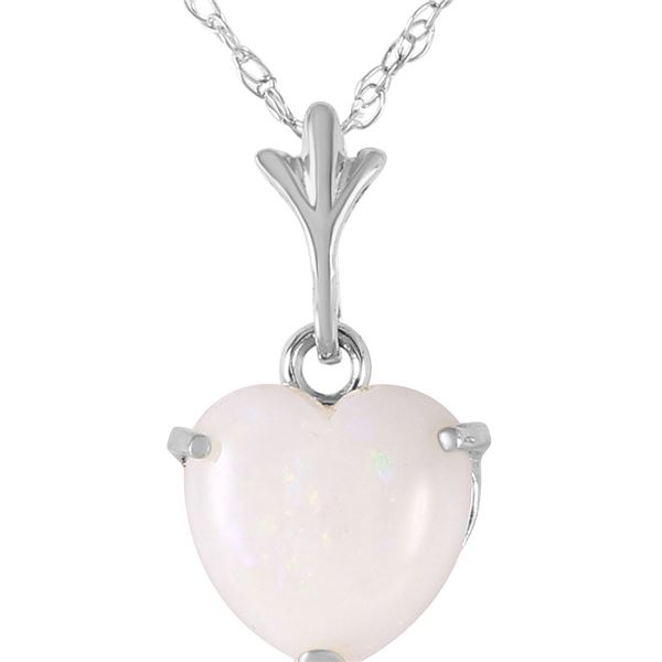 Genuine 0.65 ctw Opal Necklace 14KT White Gold - REF-20M4T