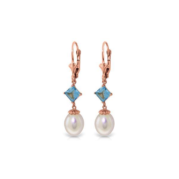Genuine 9.5 ctw Blue Topaz Earrings 14KT Rose Gold - REF-24N4R
