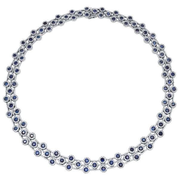 Natural 26.09 CTW Sapphire & Diamond Necklace 14K White Gold - REF-1160T3X