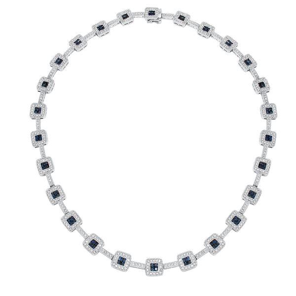 Natural 8.92 CTW Sapphire & Diamond Necklace 14K White Gold - REF-572F4M