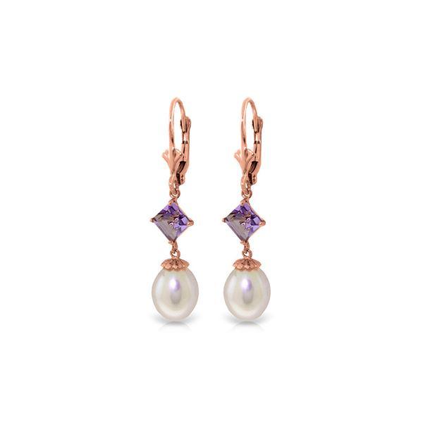 Genuine 9.5 ctw Pearl & Amethyst Earrings 14KT Rose Gold - REF-24Y4F