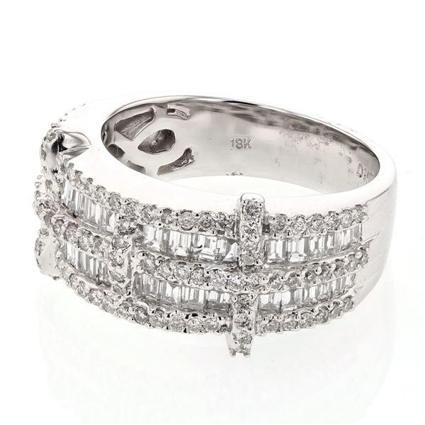 Natural 1.57 CTW Baguette & Diamond Ring 18K White Gold - REF-213W3H