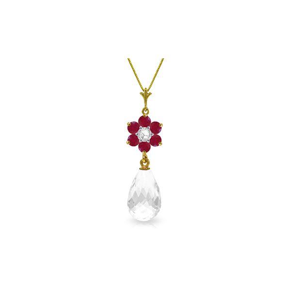 Genuine 2.78 ctw Ruby, White Topaz & Diamond Necklace 14KT Yellow Gold - REF-32Z4N
