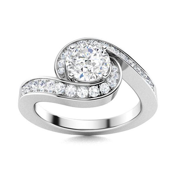 Natural 1.10 CTW Topaz & Diamond Engagement Ring 18K White Gold