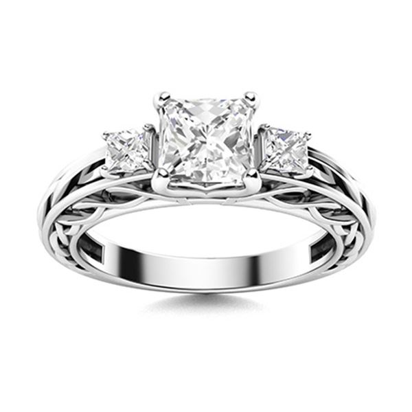 Natural 1.12 CTW Diamond Solitaire Ring 18K White Gold