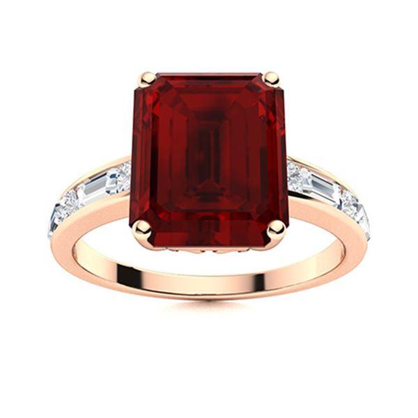 Natural 10.72 CTW Garnet & Diamond Engagement Ring 14K Rose Gold