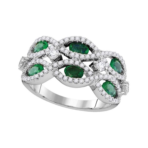 18kt White Gold Womens Oval Emerald Diamond Fashion Ring 1-7/8 Cttw
