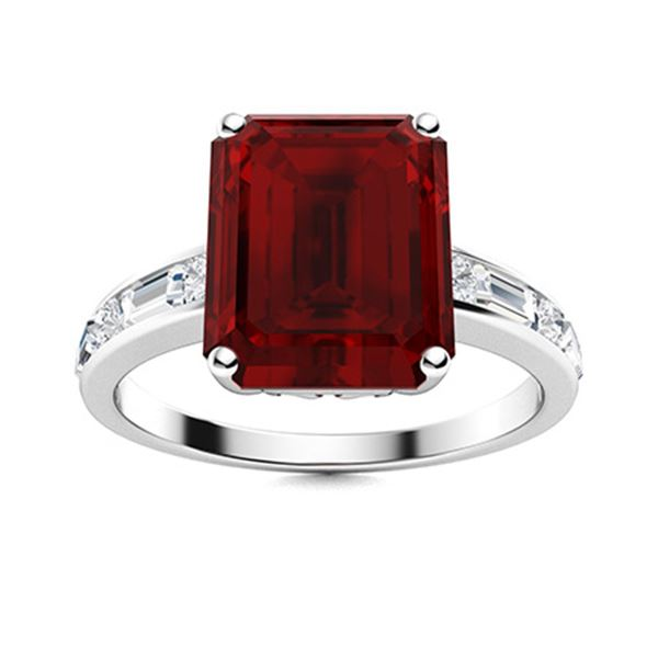 Natural 10.73 CTW Garnet & Diamond Engagement Ring 18K White Gold