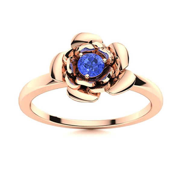 Natural 0.12 CTW Ceylon Sapphire Solitaire Ring 18K Rose Gold