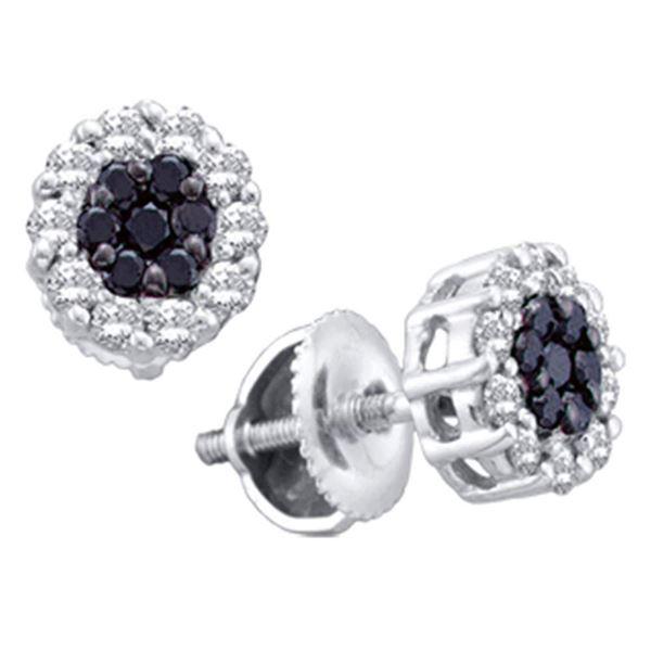 14kt White Gold Womens Round Black Color Enhanced Diamond Flower Cluster Earrings 1-1/2 Cttw