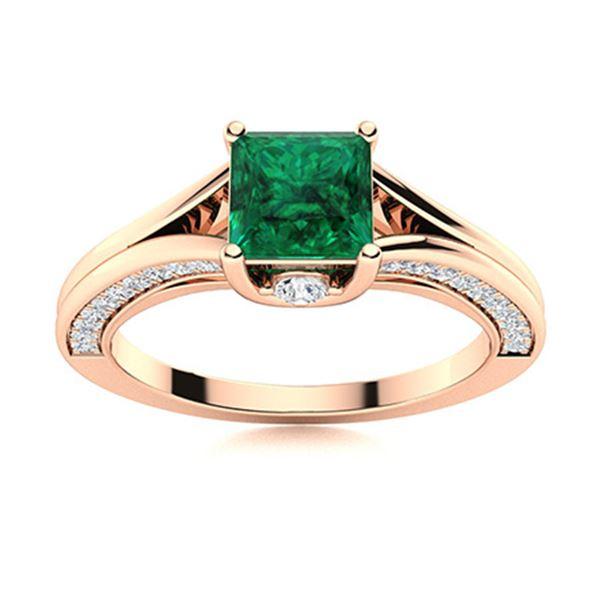 Natural 0.97 CTW Emerald & Diamond Engagement Ring 14K Rose Gold