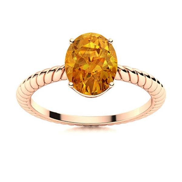 Natural 0.80 CTW Citrine Solitaire Ring 14K Rose Gold