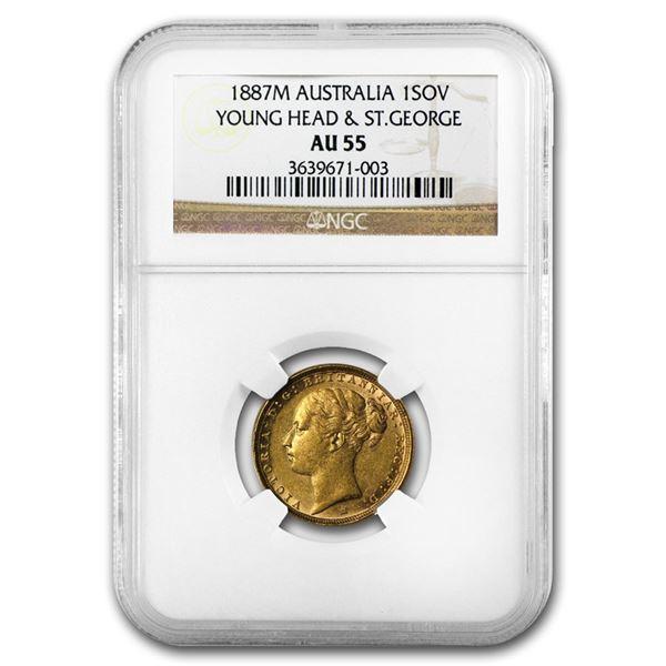 1887-M Australia Gold Sovereign Victoria AU-55 NGC