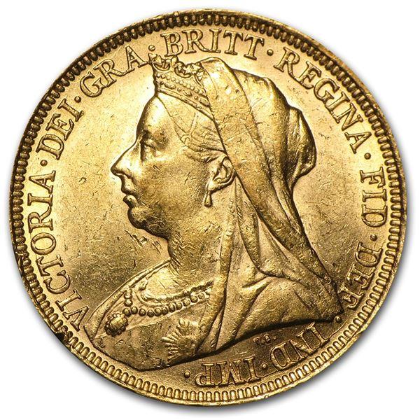 1893-1901 Great Britain Gold Sov Victoria Veil Head BU