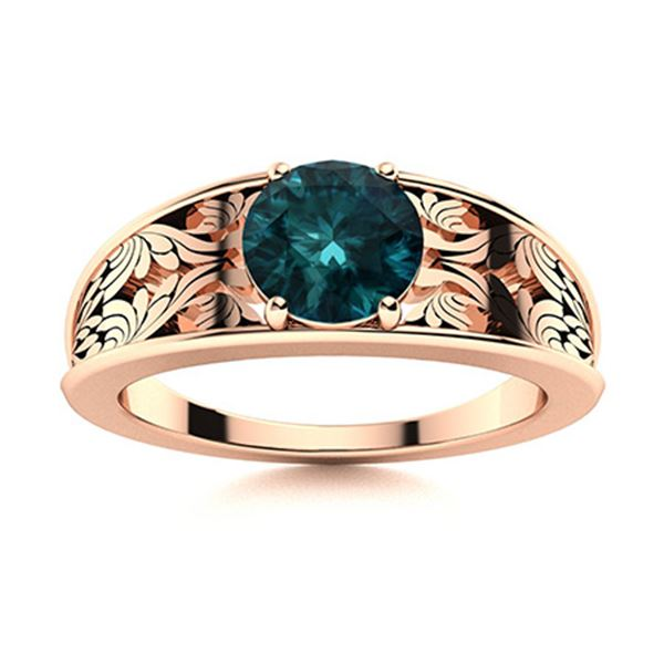 Natural 1.51 CTW Blue Diamond Solitaire Ring 14K Rose Gold
