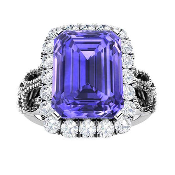 Natural 4.31 CTW Tanzanite & Diamond Engagement Ring 14K White Gold