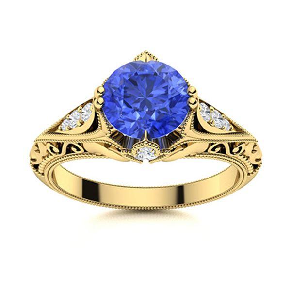 Natural 1.73 CTW Ceylon Sapphire & Diamond Engagement Ring 14K Yellow Gold