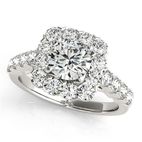 Natural 2.5 ctw Diamond Solitaire Halo Ring 14k White Gold