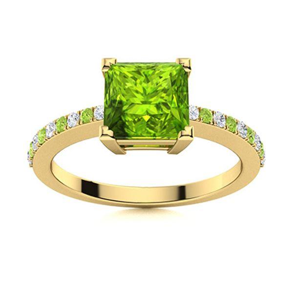 Natural 0.63 CTW Peridot & Diamond  Engagement Ring 14K Yellow Gold
