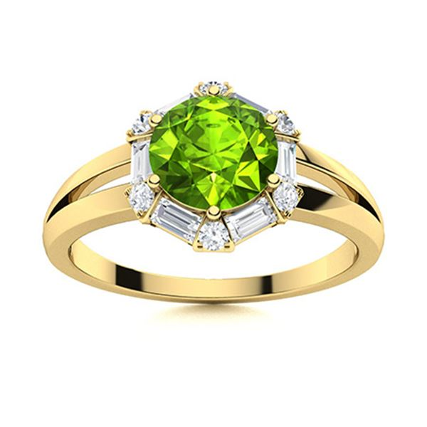 Natural 1.36 CTW Peridot & Diamond Engagement Ring 18K Yellow Gold