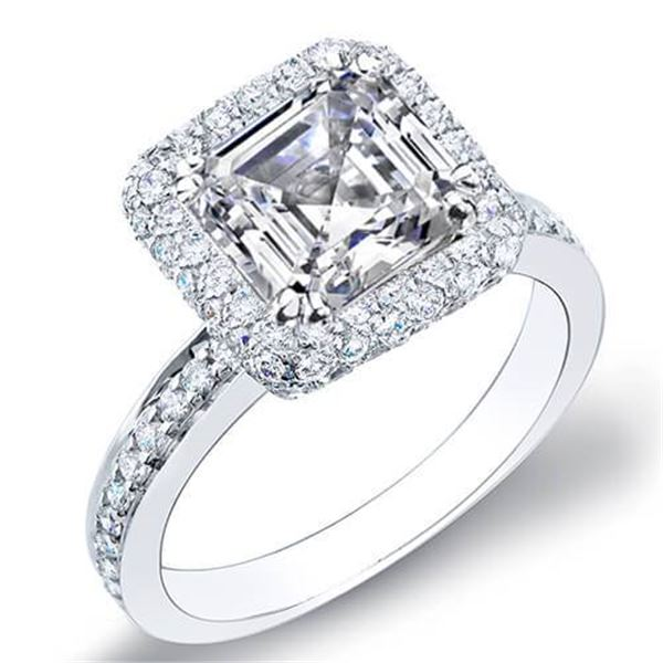 Natural 2.35 CTW Asscher Cut Halo Micro Pave Diamond Engagement Ring 18KT White Gold