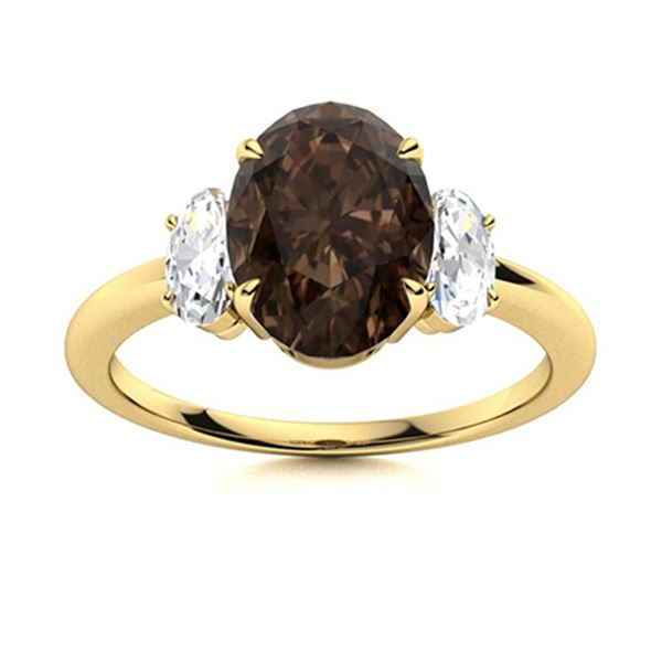Natural 5.79 CTW Smoky Quartz & Diamond Engagement Ring 14K Yellow Gold
