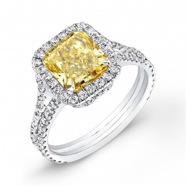 Natural 3.82 CTW Halo Radiant Cut Canary Yellow Split Shank Diamond Ring 18KT White Gold