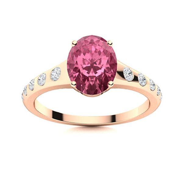 Natural 1.22 CTW Tourmaline & Diamond Engagement Ring 18K Rose Gold