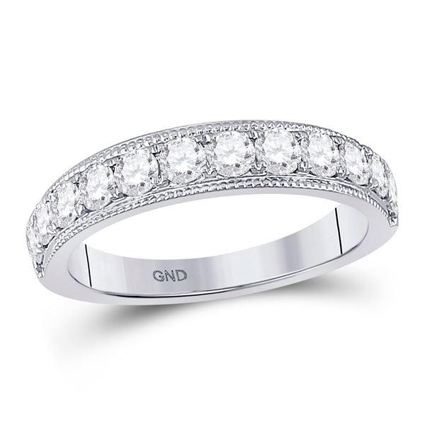 14kt White Gold Womens Round Diamond Wedding Single Row Band 1 Cttw