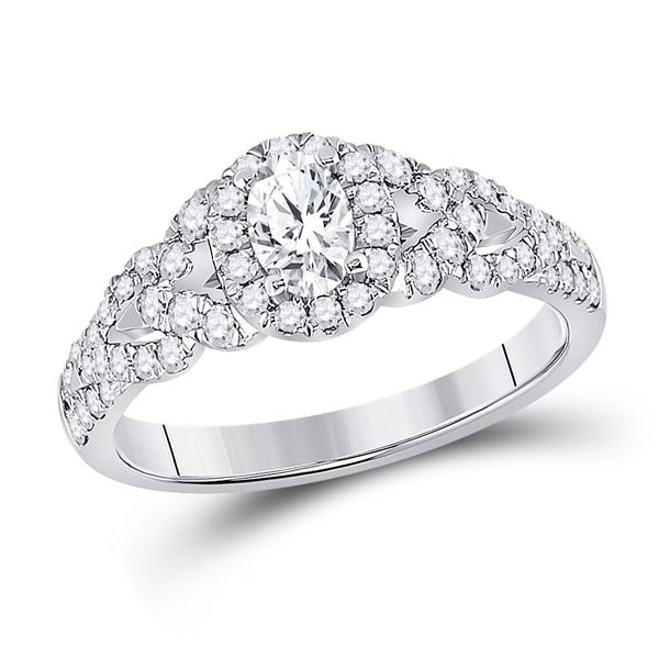 14kt White Gold Oval Diamond Solitaire Bridal Wedding Engagement Ring 1 Cttw