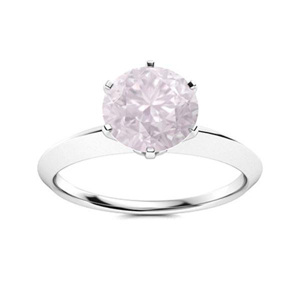 Natural 1.21 CTW Rose Quartz Solitaire Ring 14K White Gold