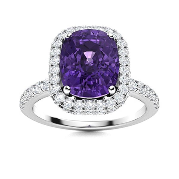 Natural 3.25 CTW Amethyst & Diamond Engagement Ring 14K White Gold