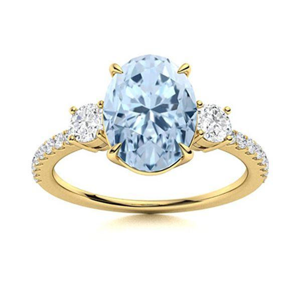 Natural 1.47 CTW Aquamarine & Diamond Engagement Ring 14K Yellow Gold