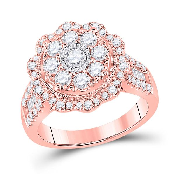 14kt Rose Gold Womens Round Diamond Floral Cluster Bridal Wedding Engagement Ring 1-5/8 Cttw
