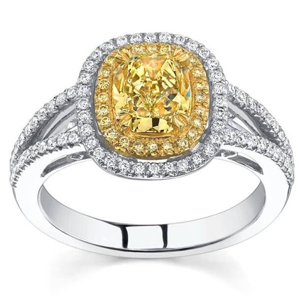 Natural 1.92 CTW Canary Yellow Cushion Cut Halo Diamond Ring 14KT White Gold
