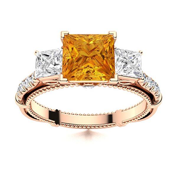 Natural 1.62 CTW Citrine & Diamond Engagement Ring 18K Rose Gold