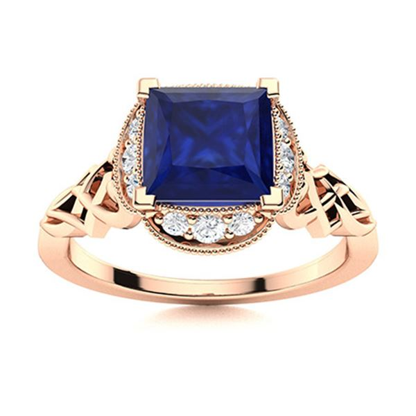 Natural 1.14 CTW Sapphire & Diamond Engagement Ring 18K Rose Gold